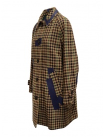 Kolor beige checkered blue patchwork coat