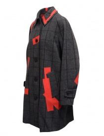 Kolor grey check and red patchwork coat