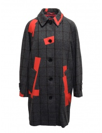 Womens coats online: Kolor grey check and red patchwork coat