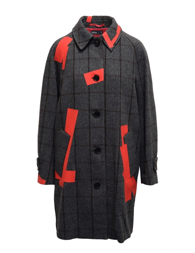 Kolor grey check and red patchwork coat 19WCL-C05103 GRAY CHECK