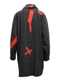 Cappotto Kolor grigio a quadri toppe rosse prezzo