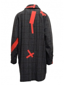 Kolor grey check and red patchwork coat price