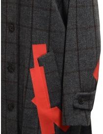 Cappotto Kolor grigio a quadri toppe rosse cappotti donna prezzo