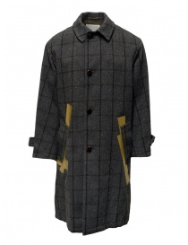 Mens coats online: Kolor grey checkered coat with golden stripes