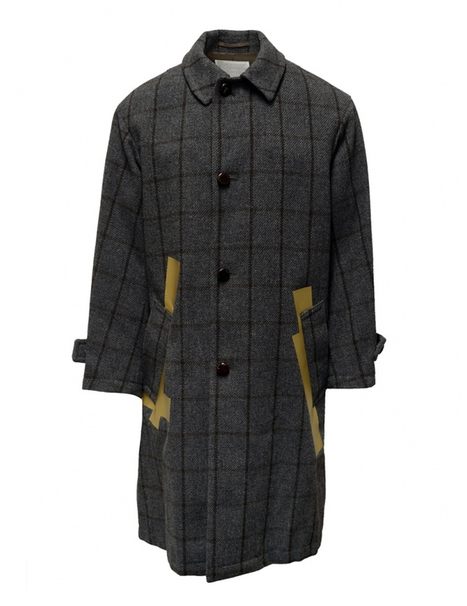 Kolor grey checkered coat with golden stripes 19WCM-C03103 GRAY CHECK mens coats online shopping