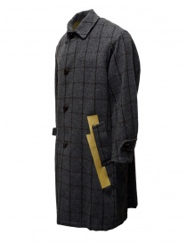 Kolor grey checkered coat with golden stripes