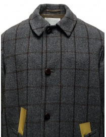 Kolor grey checkered coat with golden stripes mens coats buy online