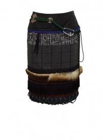 Gonne donna online: Longuette Kolor a patchwork con pelliccia e moschettone
