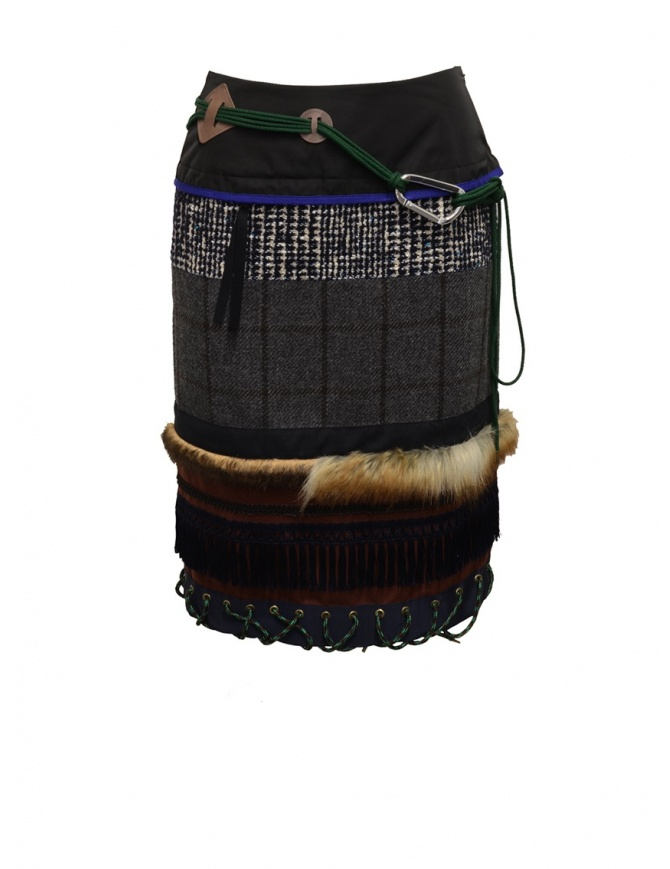 Kolor patchwork midi skirt with fur and carabiner 19WCL-S01103 GRAY CHECK womens skirts online shopping