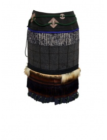 Kolor patchwork midi skirt with fur and carabiner womens skirts buy online