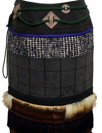 Kolor patchwork midi skirt with fur and carabiner womens skirts price
