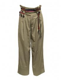 Pantaloni donna online: Pantaloni Kolor beige con nastri e lacci in vita