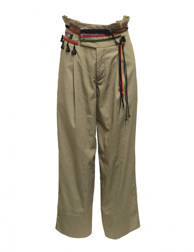 Kolor beige trousers with ribbons and laces on the waist 19WCL-P01123 SAND BEIGE womens trousers online shopping