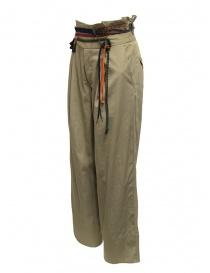 Pantaloni Kolor beige con nastri e lacci in vita
