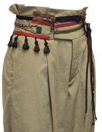 Kolor beige trousers with ribbons and laces on the waist womens trousers buy online