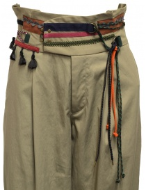 Kolor beige trousers with ribbons and laces on the waist womens trousers price