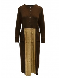 Womens dresses online: Hiromi Tsuyoshi brown and beige pleated dress