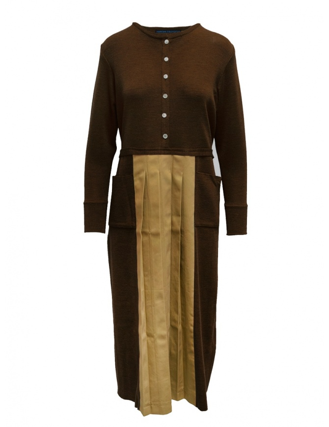 Hiromi Tsuyoshi brown and beige pleated dress RW19-003 BROWN womens dresses online shopping