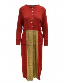 Womens dresses online: Hiromi Tsuyoshi red and beige pleated dress
