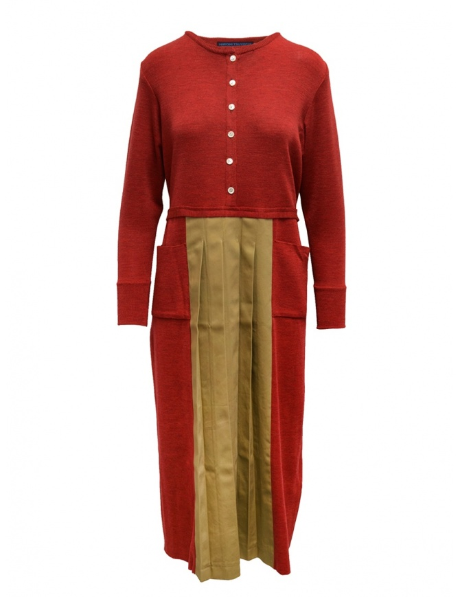 Hiromi Tsuyoshi red and beige pleated dress RW19-003 RED womens dresses online shopping