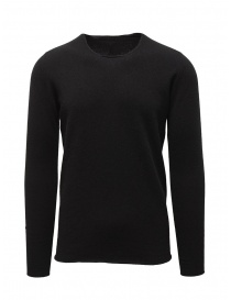 Mens knitwear online: Label Under Construction black wool and angora sweater