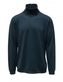 Mens knitwear online: Goes Botanical petroleum blue Merino wool turtleneck