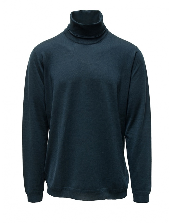 Goes Botanical petroleum blue Merino wool turtleneck M/L FIN. 30GG 104 4355 PETROLIO mens knitwear online shopping