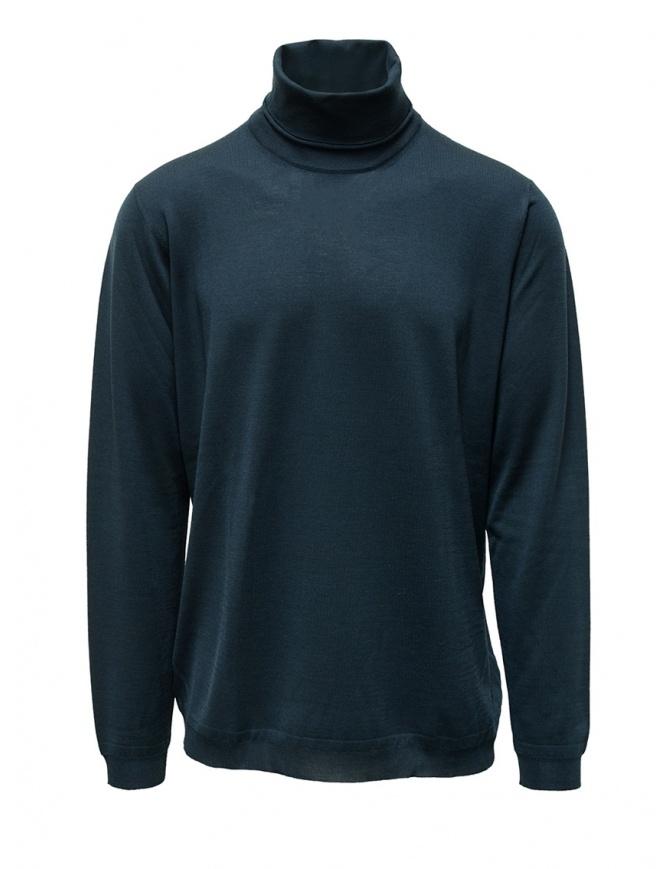 Goes Botanical petroleum blue Merino wool turtleneck 104 4355 PETROLIO mens knitwear online shopping
