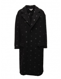 Miyao black coat with blue flowers online