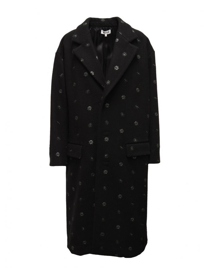 Miyao black coat with blue flowers MR-Y-02 BLACK