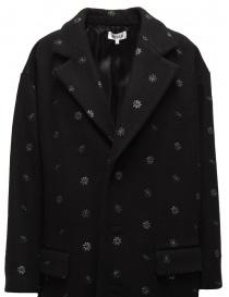 Cappotto Miyao nero a fiori blu prezzo