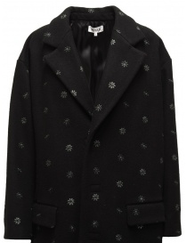 Miyao black coat with blue flowers price