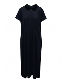 Womens dresses online: Miyao blue wool dress with black velvet collar