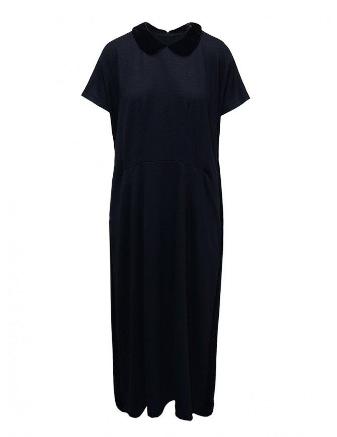 Miyao blue wool dress with black velvet collar MR-T-04 BLACKxNAVY womens dresses online shopping
