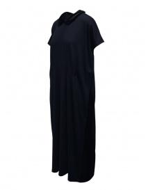 Abito Miyao in lana blu colletto in velluto nero