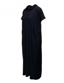 Miyao blue wool dress with black velvet collar buy online