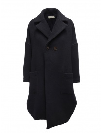 Womens coats online: Zucca navy blue three quarter sleeve cocoon-shaped coat