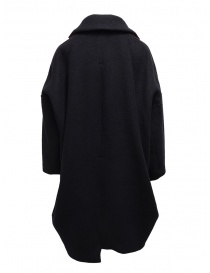 Zucca navy blue three quarter sleeve cocoon-shaped coat