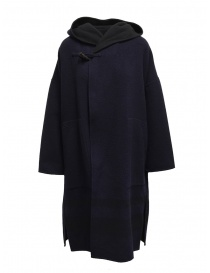 Womens coats online: Plantation blue-black reversible poncho coat