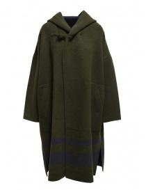 Cappotti donna online: Cappotto poncho Plantation verde-blu reversibile