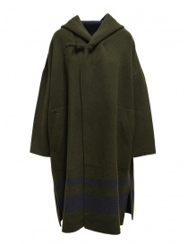 Plantation green-blue reversible poncho coat online