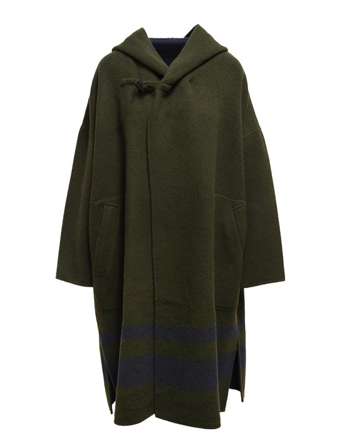Plantation green-blue reversible poncho coat PL99FA017 GREEN/BLUE womens coats online shopping