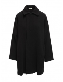 Womens coats online: Plantation black coat with shirt collar