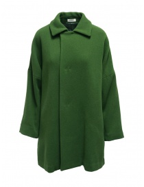Womens coats online: Plantation green coat with shirt collar