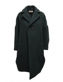 Womens coats online: Zucca green three quarter sleeve cocoon-shaped coat