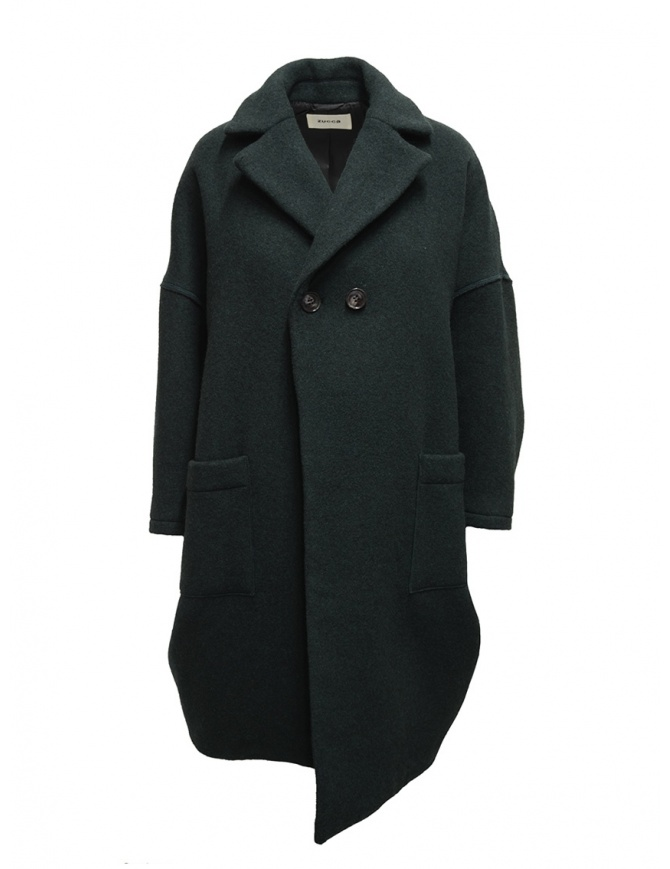 Zucca green three quarter sleeve cocoon-shaped coat ZU99FA073 GREEN womens coats online shopping