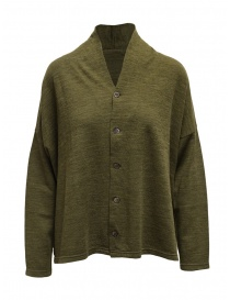 Plantation green V-neck sweater with buttons PL99-JO159 GREEN