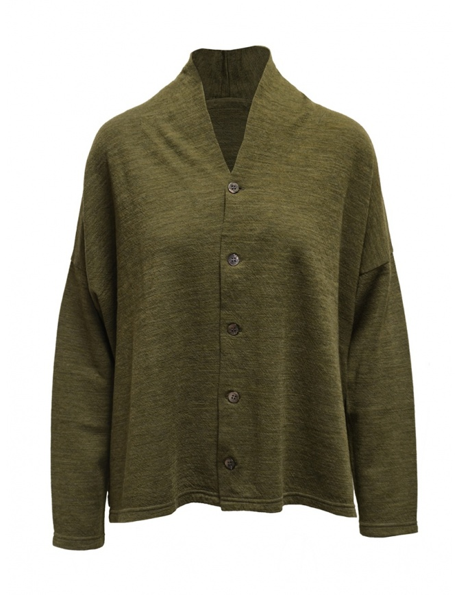 Plantation green V-neck sweater with buttons PL99-JO159 GREEN womens knitwear online shopping