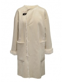 Womens coats online: Plantation reversible suede-fur white coat