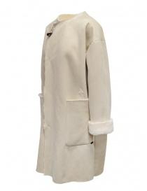 Plantation cappotto reversibile suede-pelliccia bianco